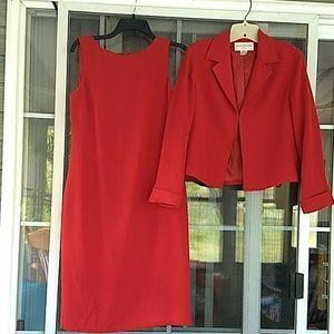 Evan Picone red dress/jacket suit